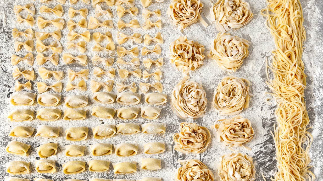 Amoretti Homemade Pasta Recipe. Make agnolotti, bowties, fettuccine nests, or spaghetti.