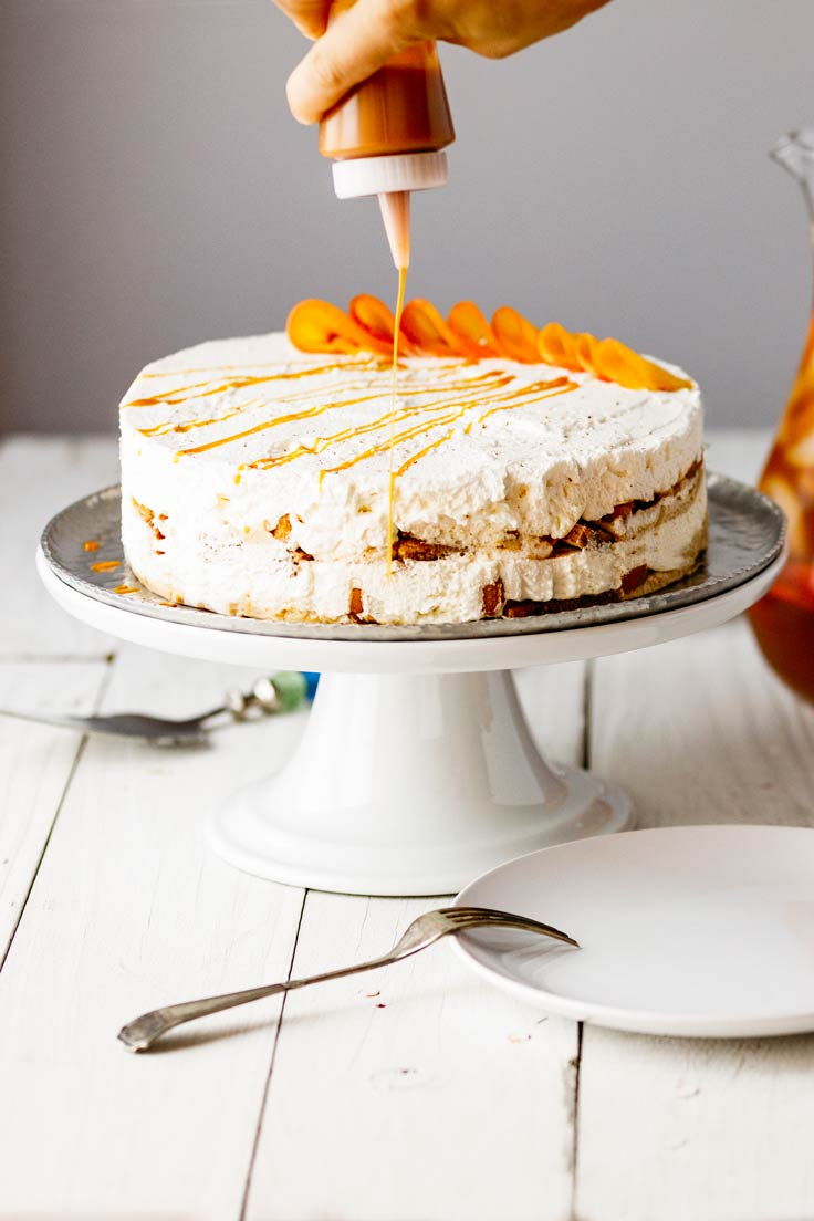 Amoretti Spiced Peach Ice Box Cake Recipe, drizzle just before serving