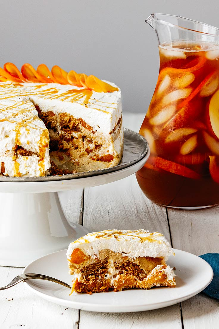 Amoretti Spiced Peach Ice Box Cake Recipe, slightly overhead
