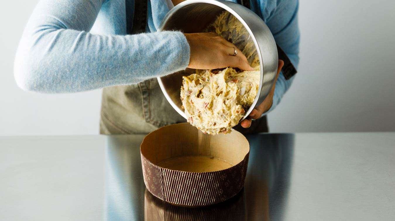 Amoretti Recipe: Savory Panettone. Put dough in panettone mold.