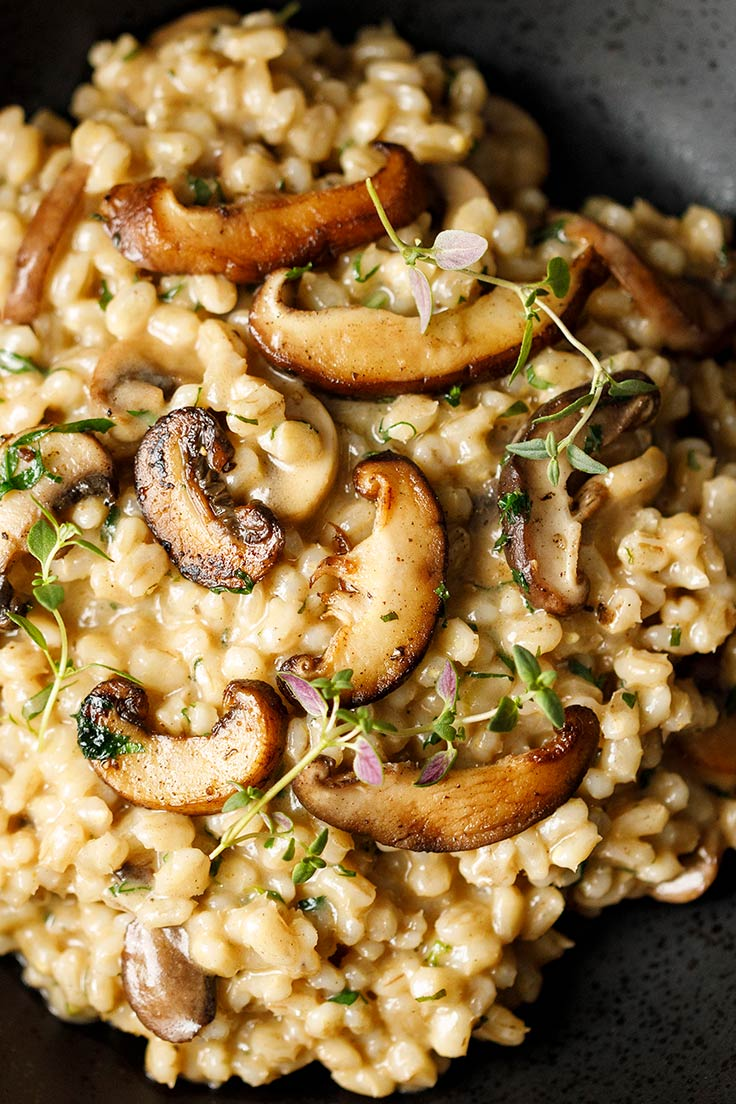 closeup of Amoretti Barley Risotto with Mushrooms and Parmesan Recipe