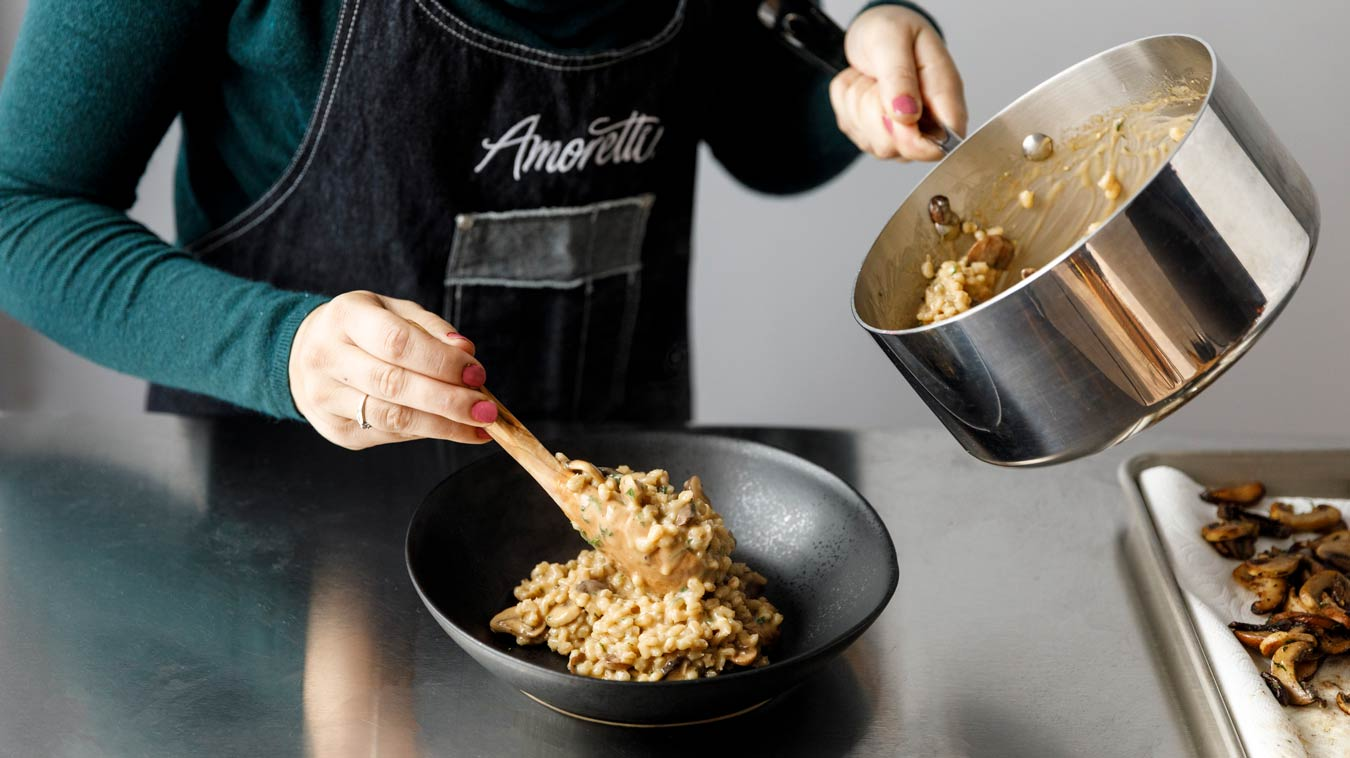 Amoretti Recipe: Barley Risotto with Mushrooms and Parmesan. Serve.