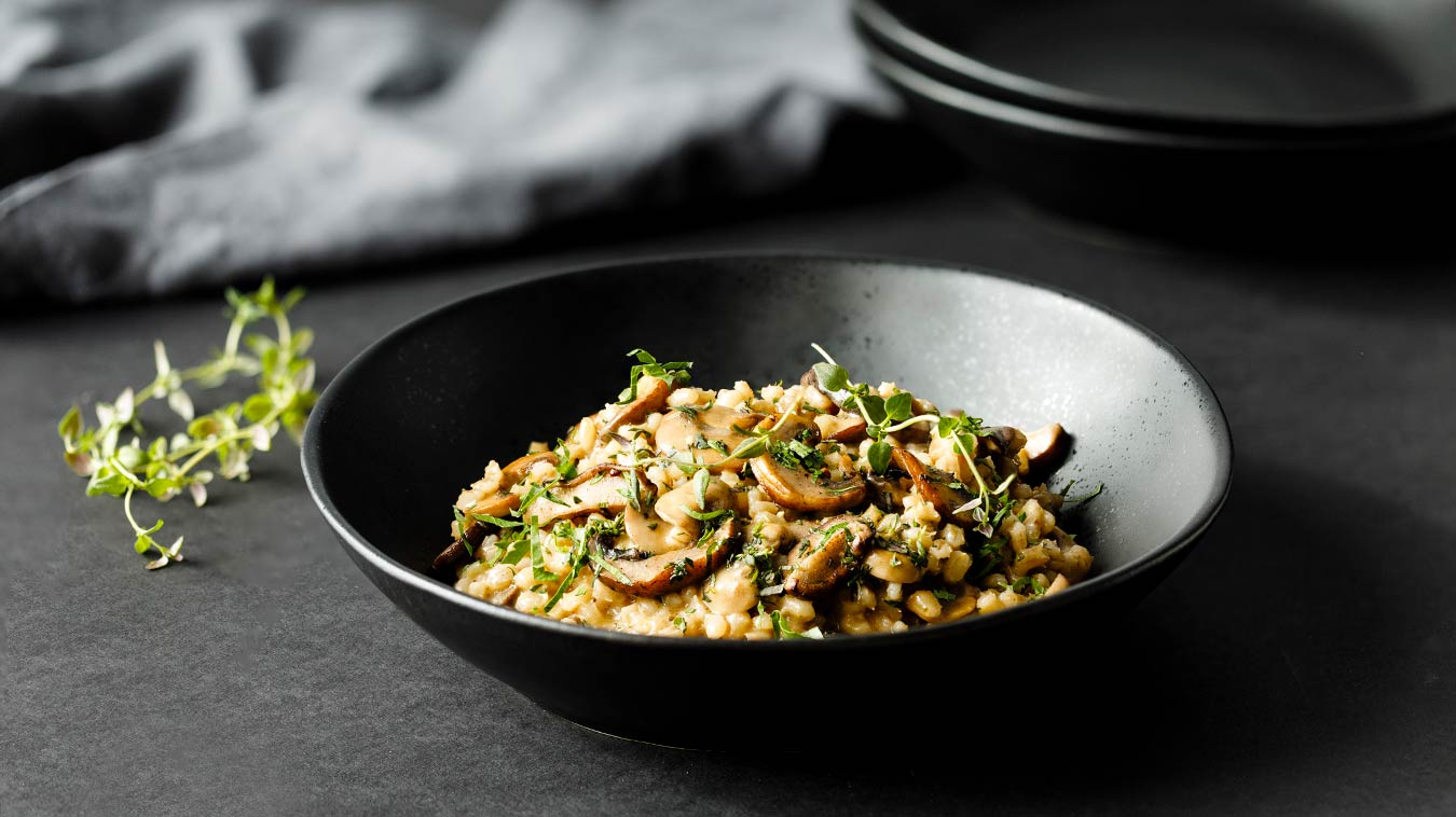 Amoretti Recipe: Barley Risotto with Mushrooms and Parmesan