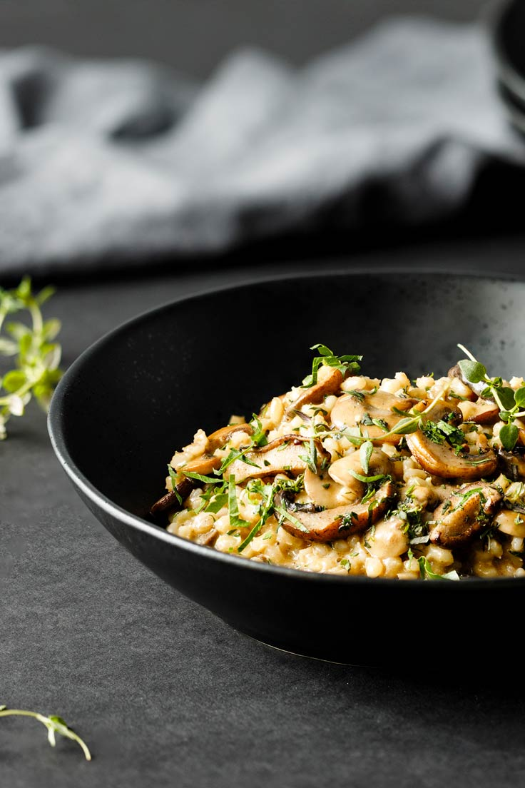 Amoretti Barley Risotto with Mushrooms and Parmesan Recipe