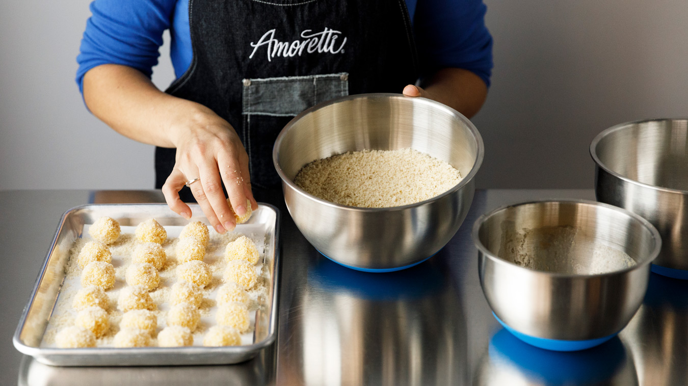 Amoretti Recipe: Horchata Arancini with Mexican Coffee Dipping Sauce. Bread them all.