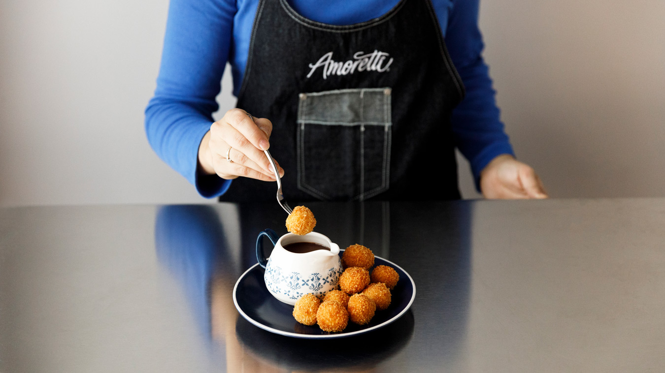 Amoretti Recipe: Horchata Arancini with Mexican Coffee Dipping Sauce. WORDS.