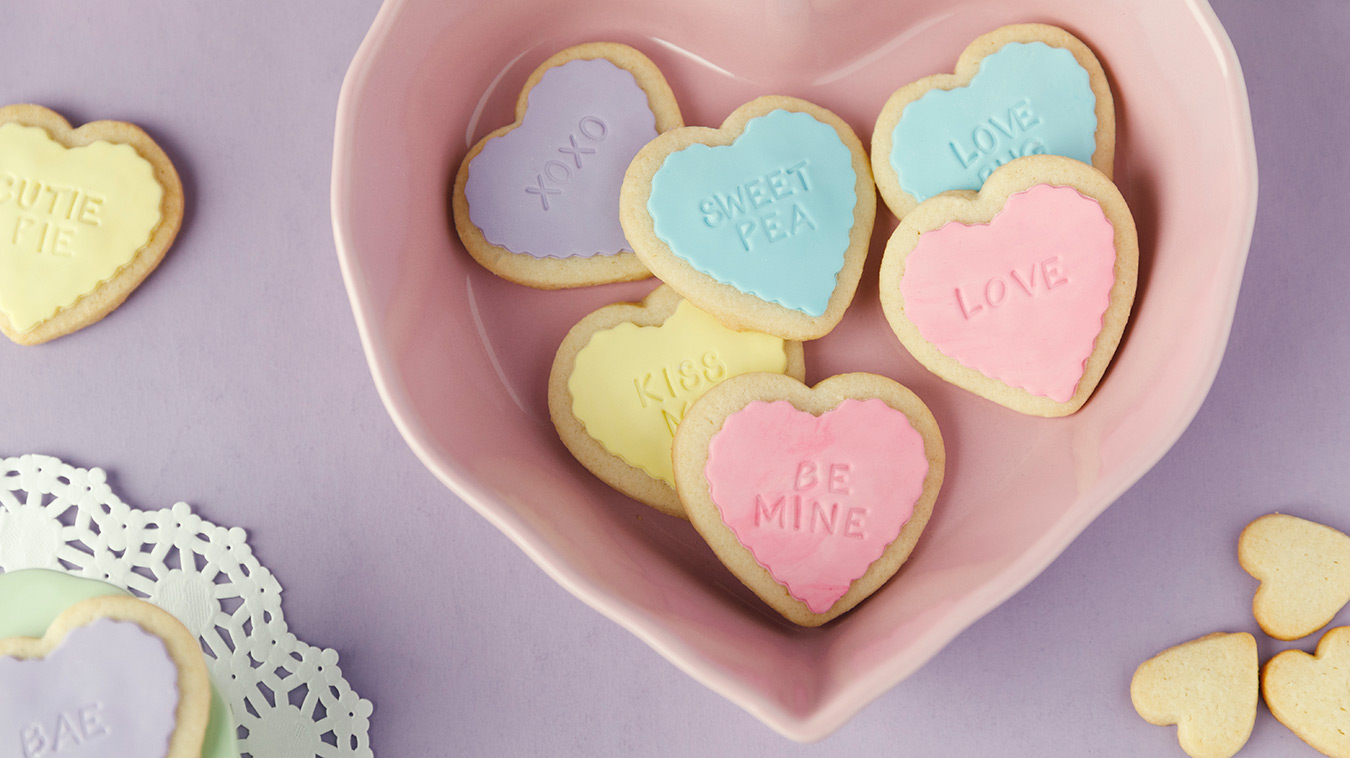 Amoretti Recipe: Conversation Heart Cookies on a platter
