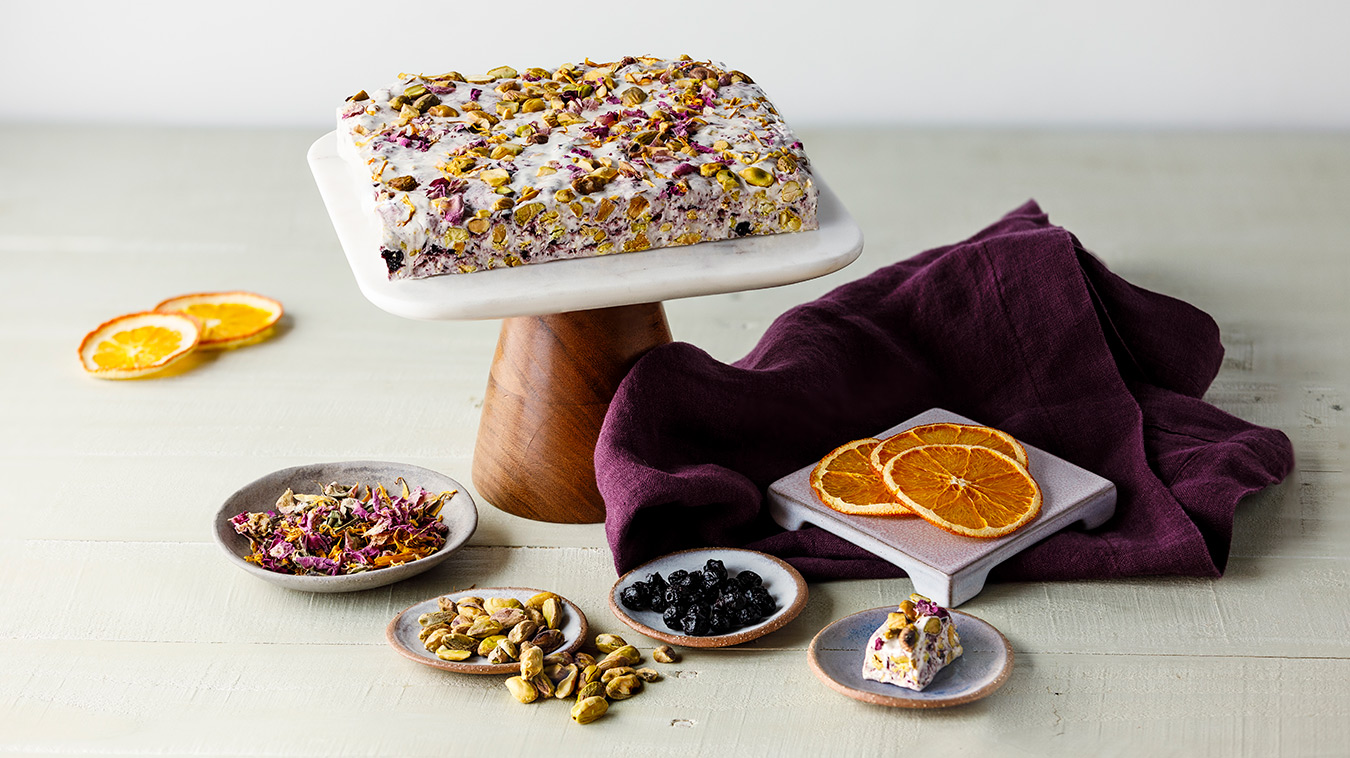 Amoretti Recipe: Blueberry Pistachio Torrone with Rose Petals and Candied Orange Peel