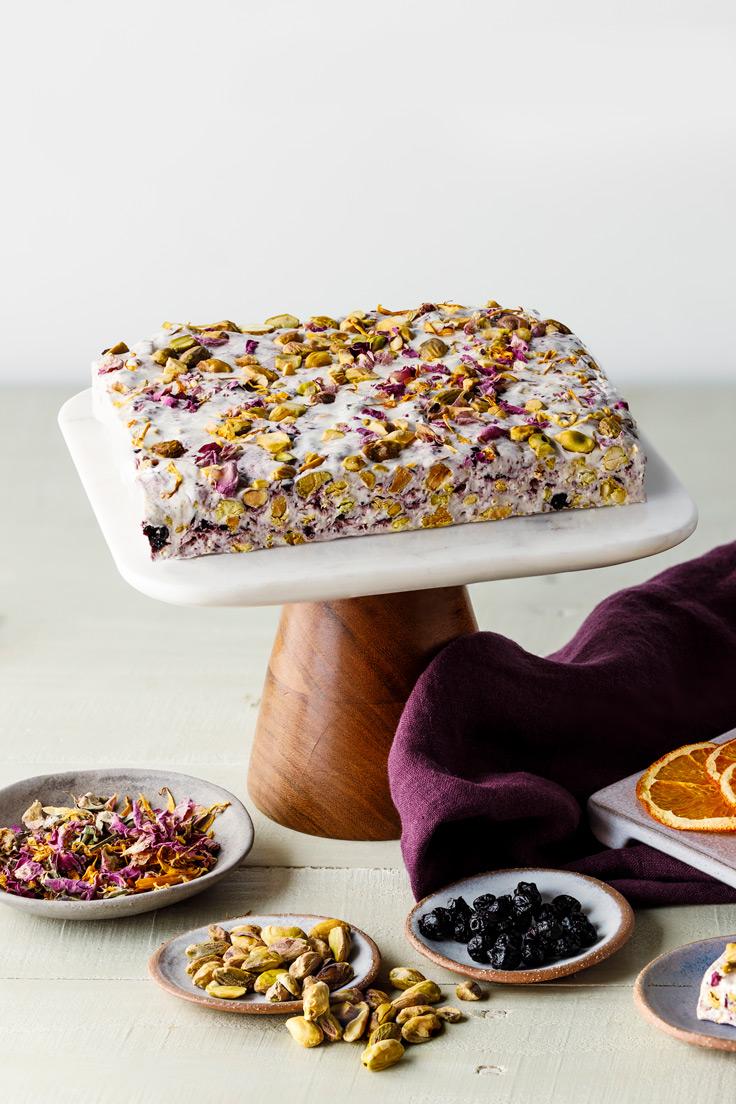 Amoretti Blueberry Pistachio Torrone with Rose Petals and Candied Orange Peel Recipe