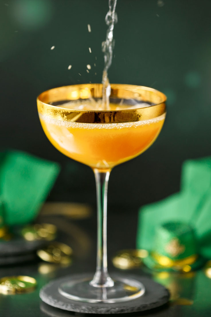Pouring Amoretti's Leprechaun Lemonade Cocktail Recipe