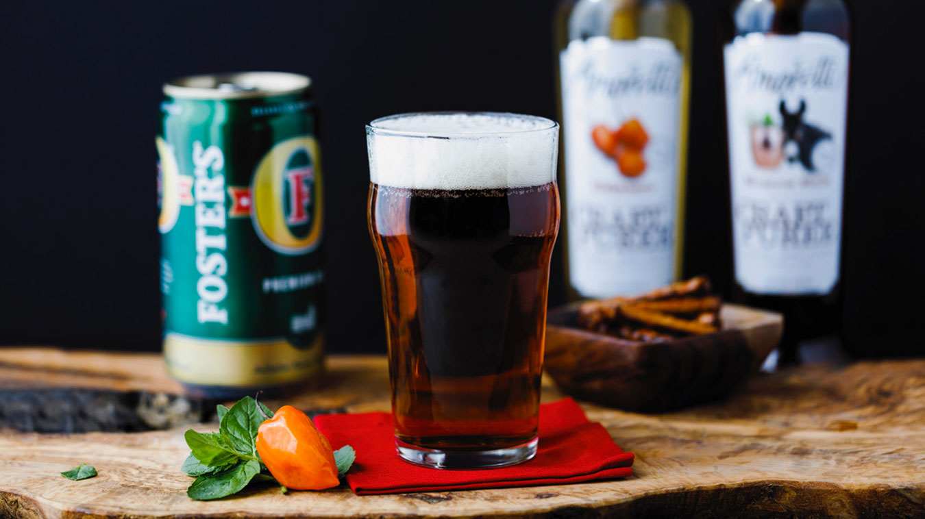 Amoretti Recipe: Foster's Fire with Habanero & Moscow Mule Craft Purees