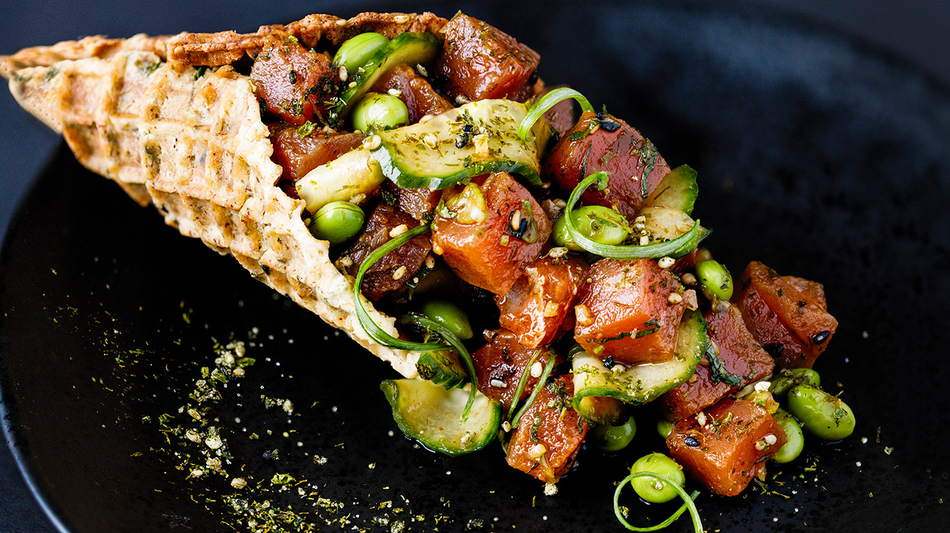 Amoretti Recipe: Tuna Poke with Ginger Soy Marinade on a plate
