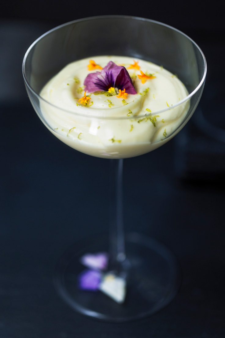 Amoretti Tropical Citrus Mousse Recipe decorated with edible flower petals