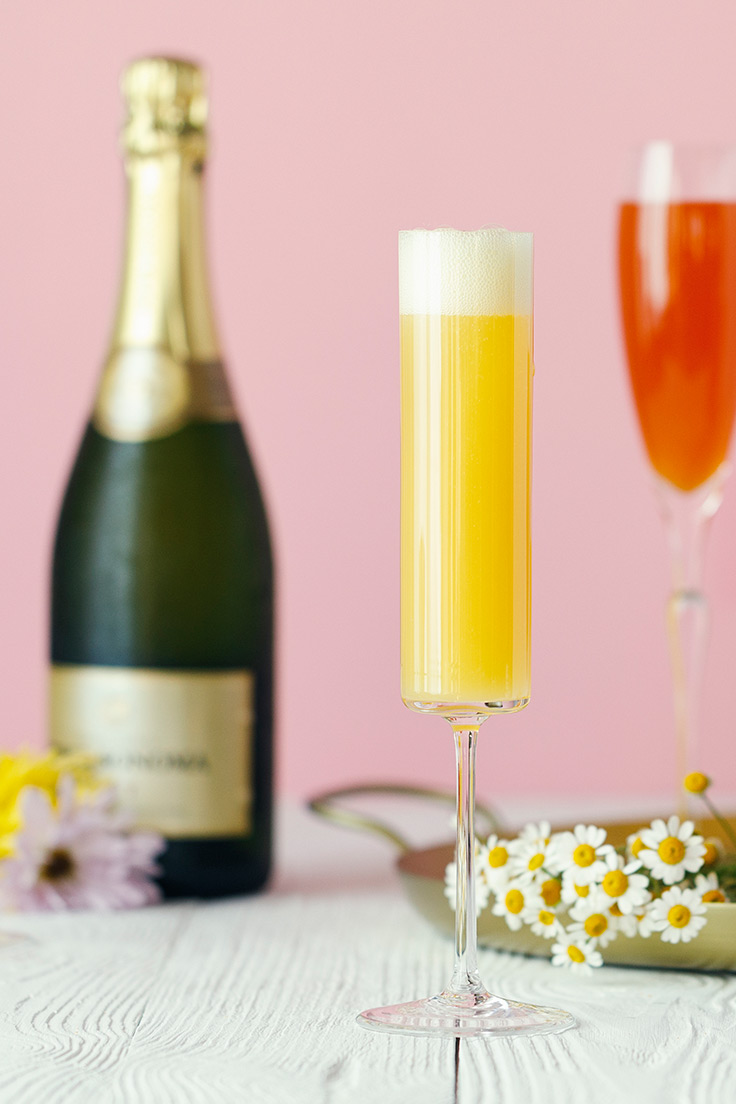 A glass of Amoretti Mother's Day Mimosa Bar with Craft Purées Recipe