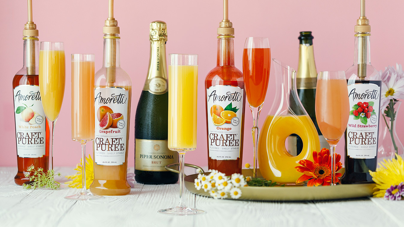 Amoretti Recipe: Mother's Day Mimosa Bar with Craft Purées