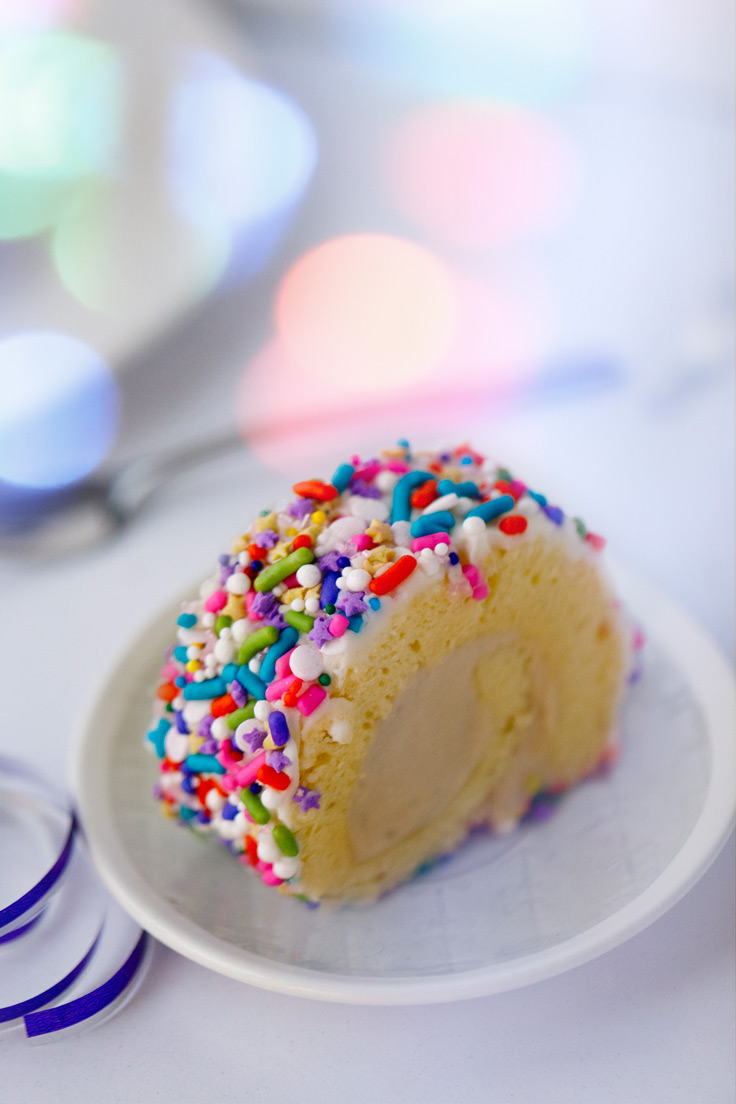 Amoretti Mini Rainbow Roulades with Birthday Cake Filling Recipe