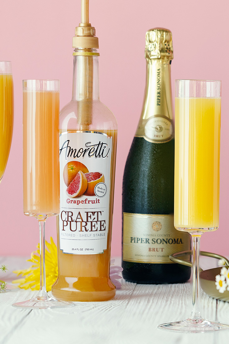 Grapefruit Mimosa. Amoretti Mother's Day Mimosa Bar with Craft Purées Recipe