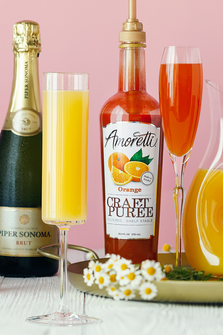 Orange Mimosa. Amoretti Mother's Day Mimosa Bar with Craft Purées Recipe