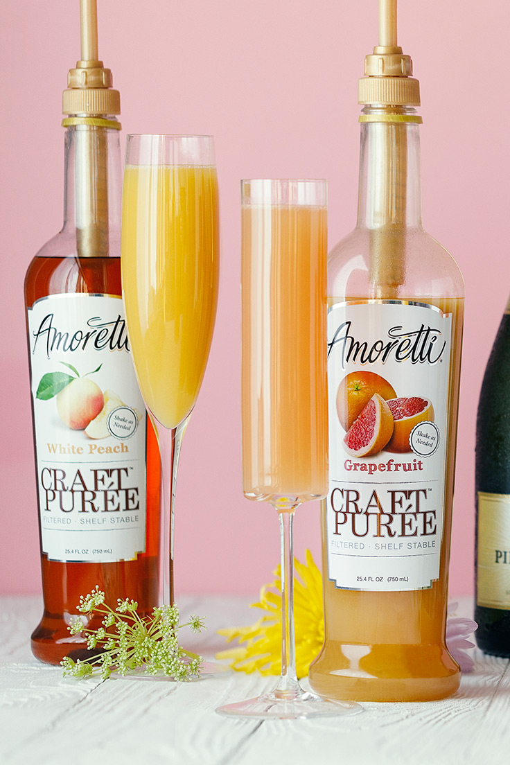 White Peach and Grapefruit Mimosas. Amoretti Mother's Day Mimosa Bar with Craft Purées Recipe