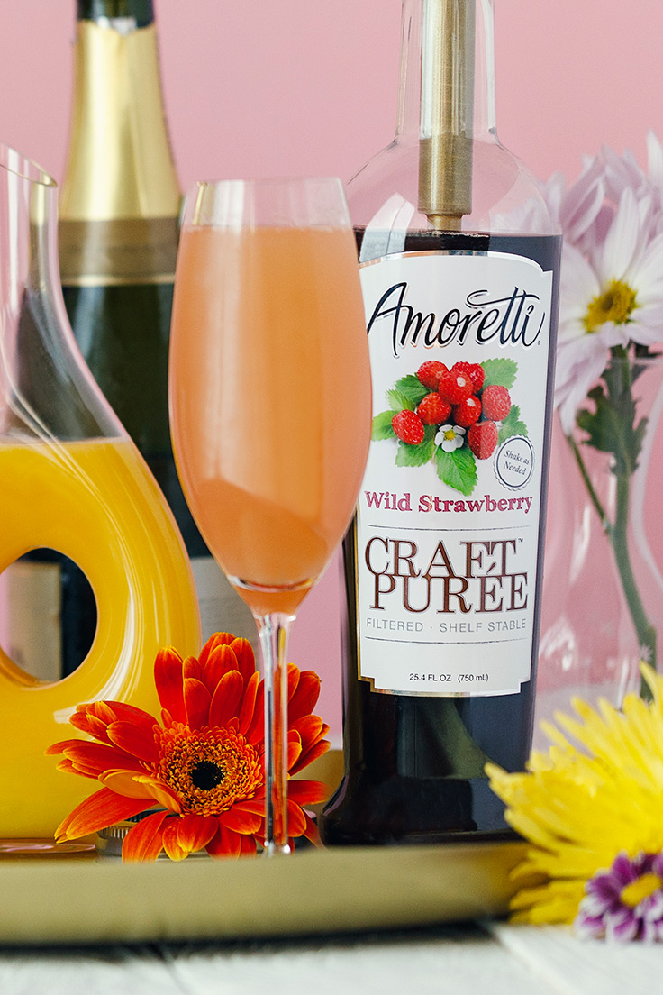 Wild Strawberry Mimosa. Amoretti Mother's Day Mimosa Bar with Craft Purées Recipe