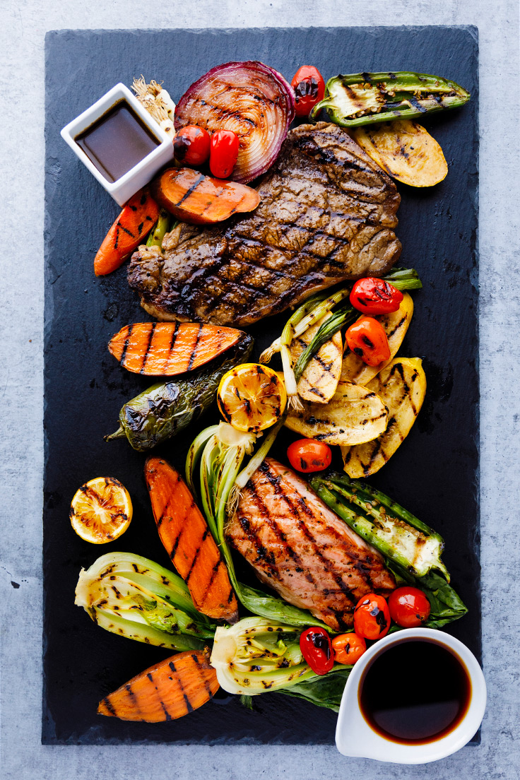 Amoretti Steak Marinade & Ginger Soy Marinade Recipes with grilled steak, fish, and vegetables