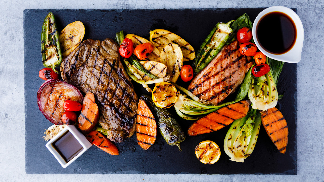 Amoretti Recipe: Steak Marinade & Ginger Soy Marinade with grilled steak, fish, and vegetables
