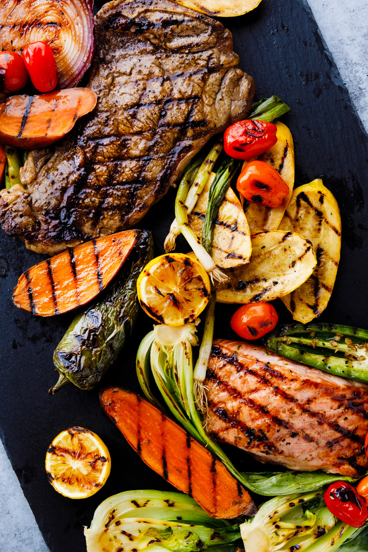Grilled steak, fish, and vegetables with Amoretti Steak  & Ginger Soy Marinade Recipes