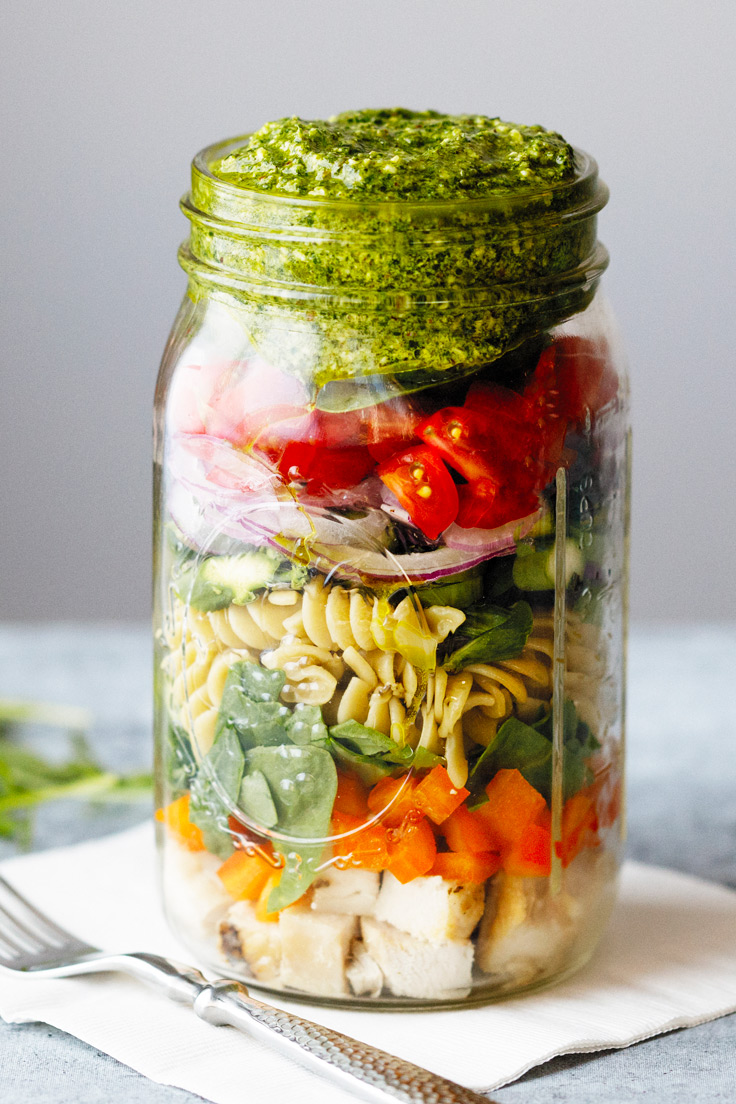 Amoretti Arugula Pecan Pesto Recipe with Pasta Salad in a jar