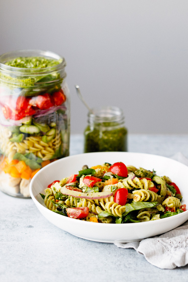Amoretti Arugula Pecan Pesto Recipe on Pasta Salad