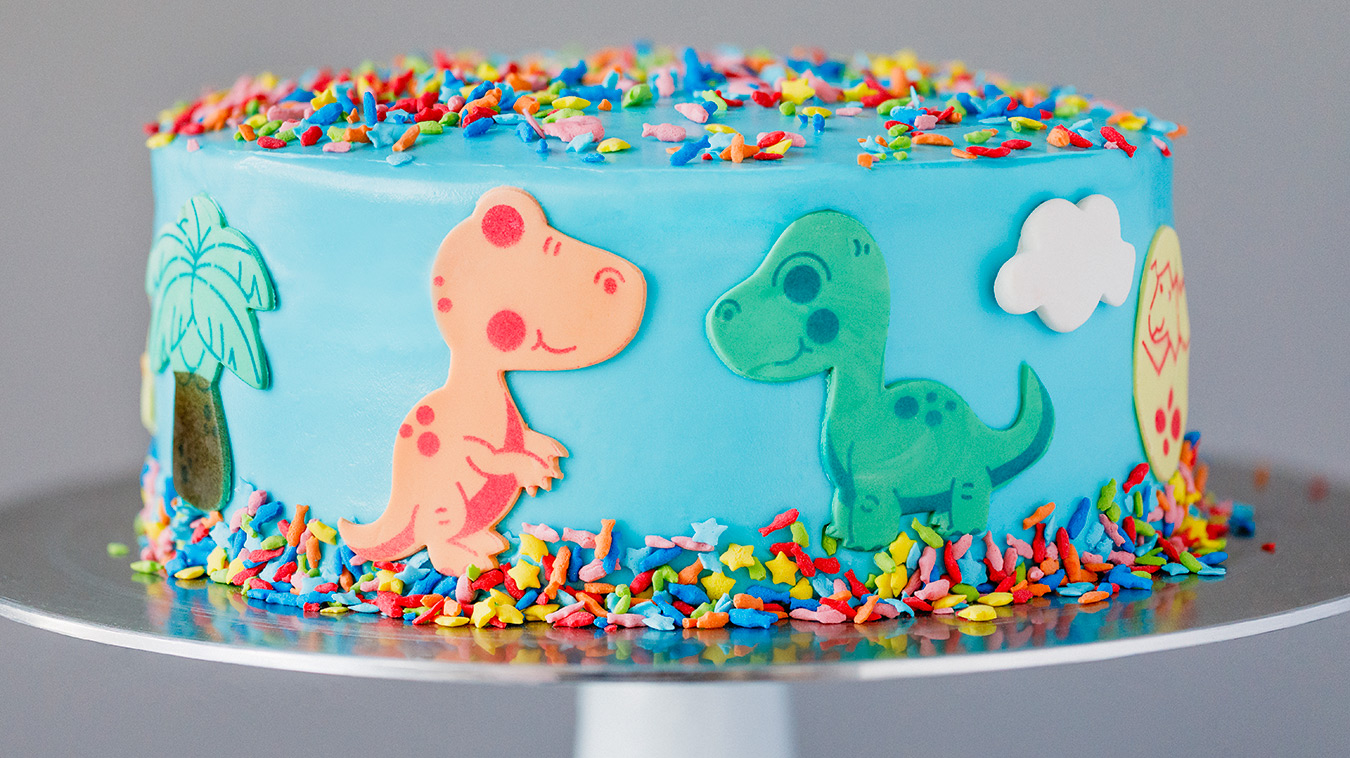 How to Flavor a Box Cake Mix with Amoretti Compounds - Blue Raspberry Dinosaur Cake