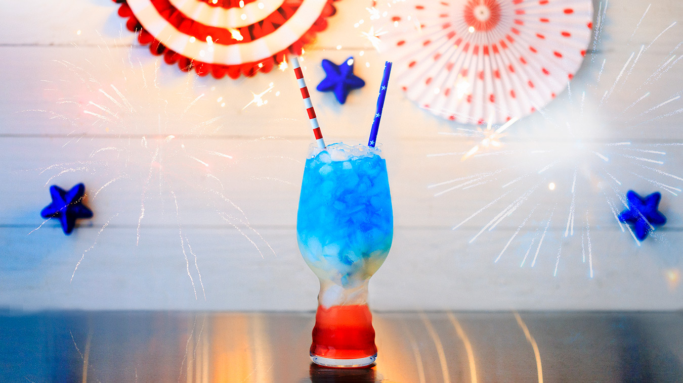 Amoretti Recipe: Liberty Lemonade with Blue Curacao Syrup and Cosmopolitan Martini Mix
