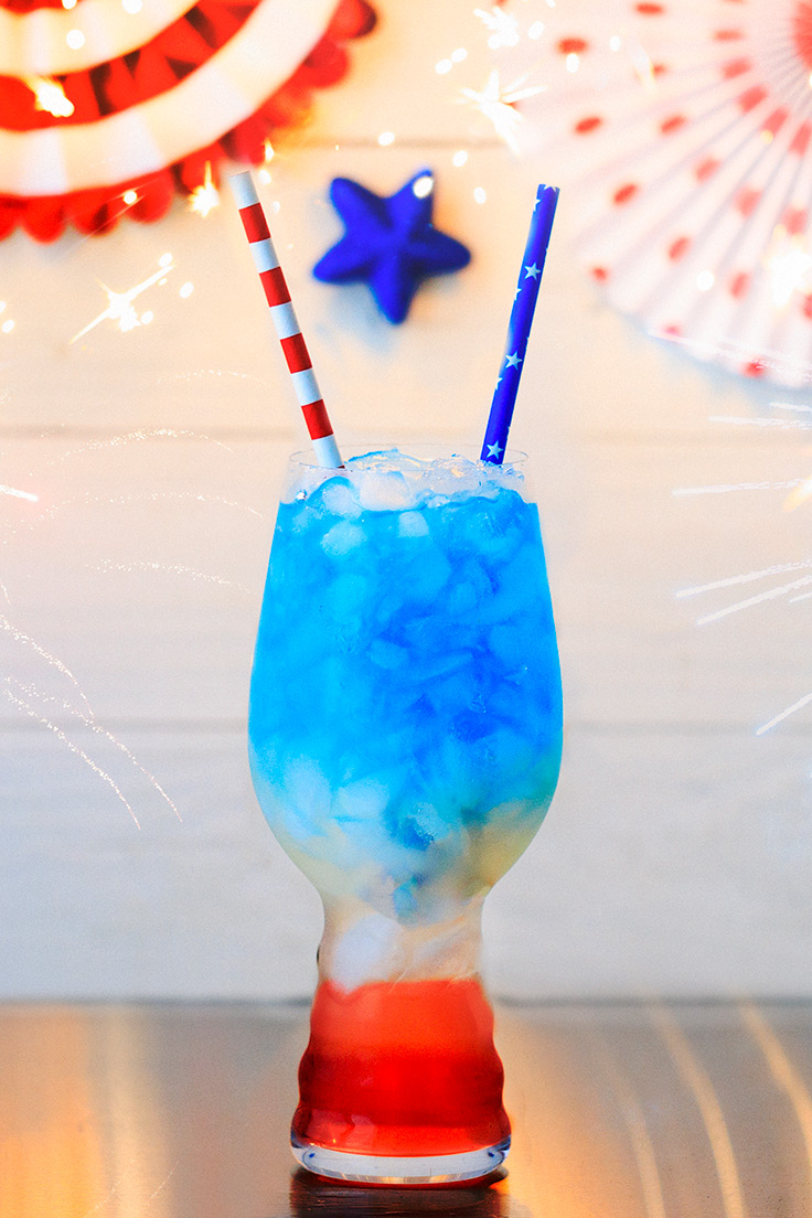 Amoretti Liberty Lemonade Recipe with Blue Curacao Syrup and Cosmopolitan Martini Mix