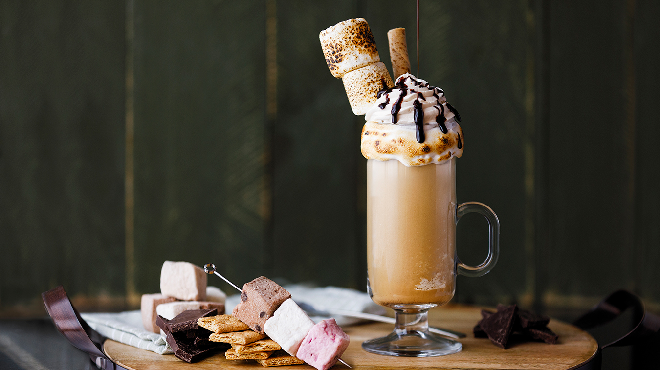 Amoretti Recipe: Blended S'mores Iced Coffee for two