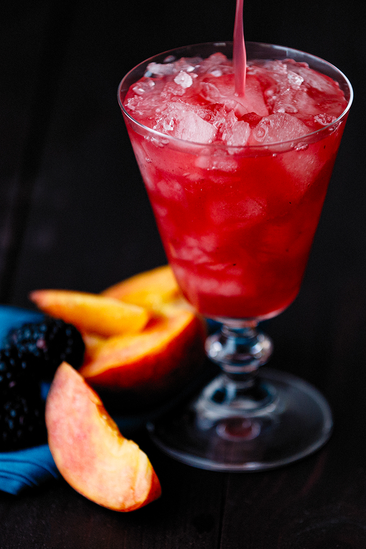 Amoretti Charred Peach & Blackberry Bramble Cocktail Recipe