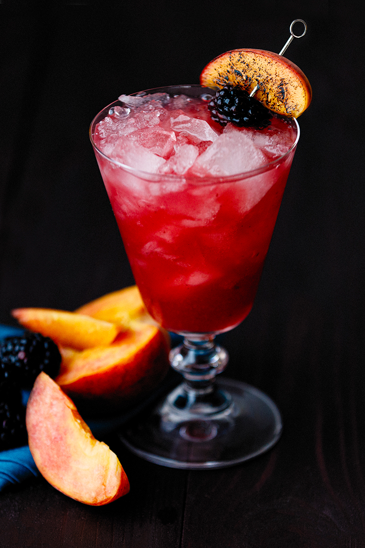 Amoretti Charred Peach & Blackberry Bramble CocktailRecipe