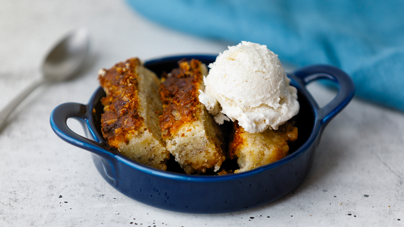 Amoretti Recipe: Banana Maple Bourbon Pudding Cake