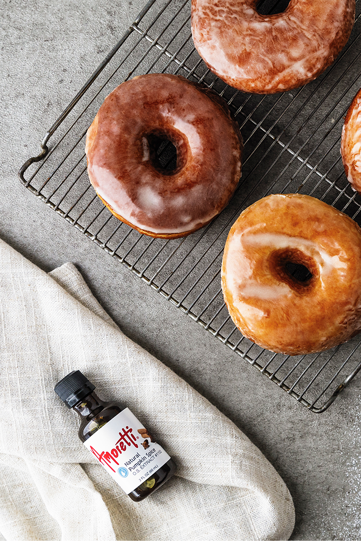 Amoretti Pumpkin Spice Doughnuts with Pumpkin Spice Glaze Recipe with Natural Pumpkin Spice Extract