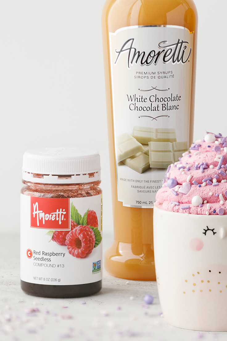 Amoretti Raspberry Triple Hot Chocolate Recipe with Raspberry Compound & White Chocolate Syrup