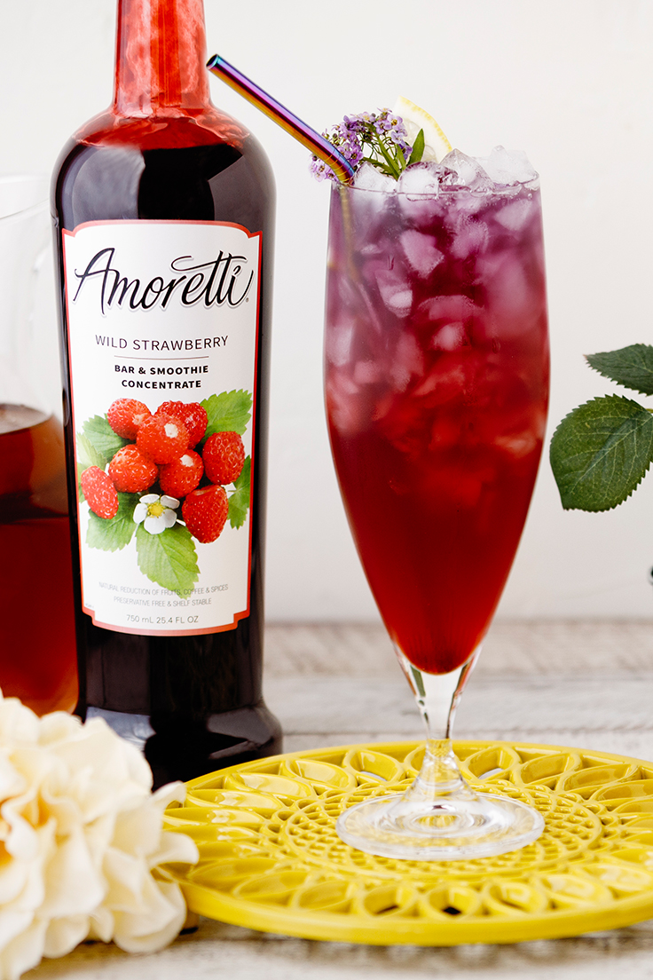 Amoretti Butterfly Iced Tea Recipe with Wild Strawberry Bar & Smoothie Concentrate