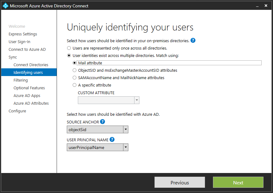 Azure Active Directory Connect to an O365 Domain