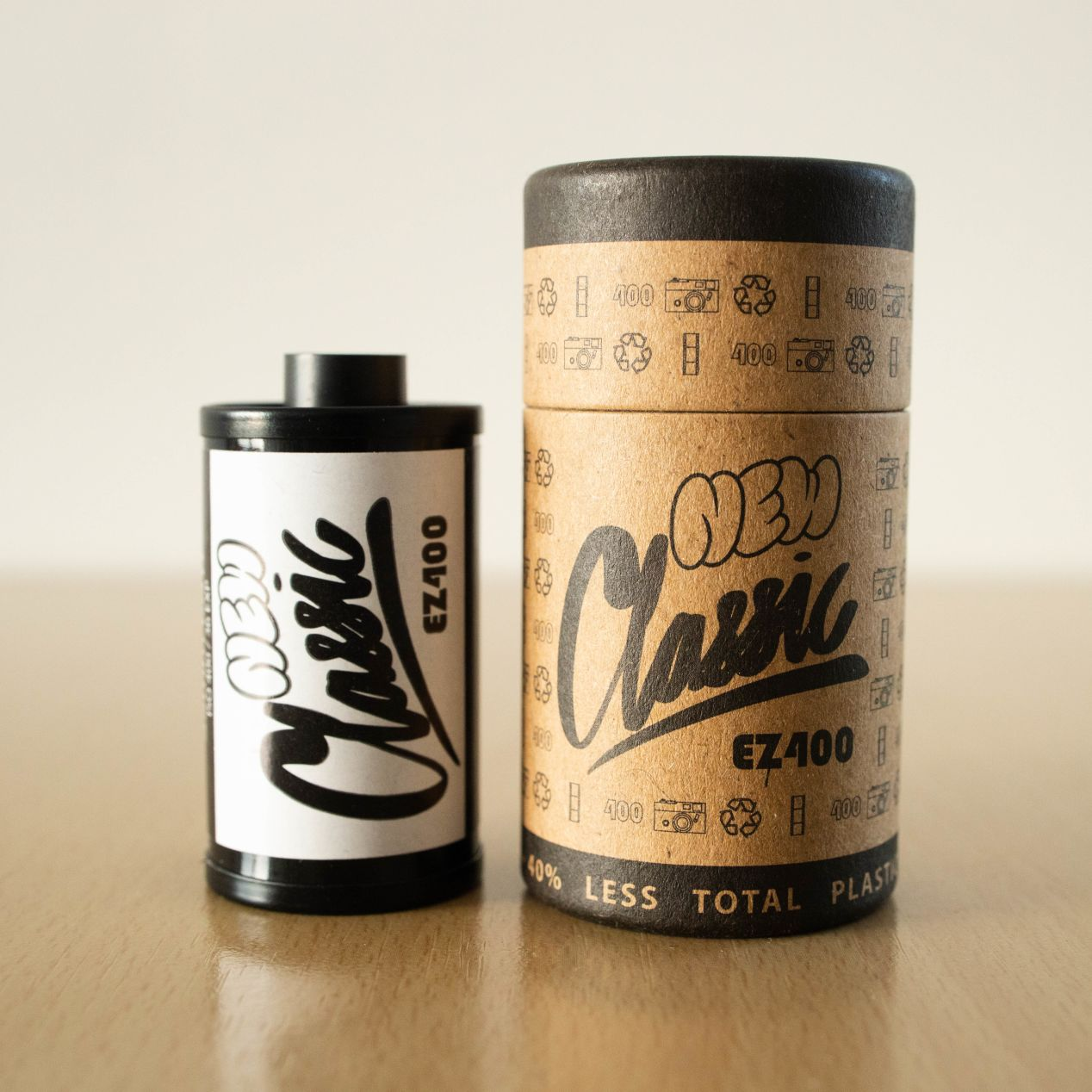 New Classic EZ-400 monochrome 35mm film next to its cardboard sleeve — the only piece of packaging you'll need to safely store your canister. Image courtesy of New Classic.