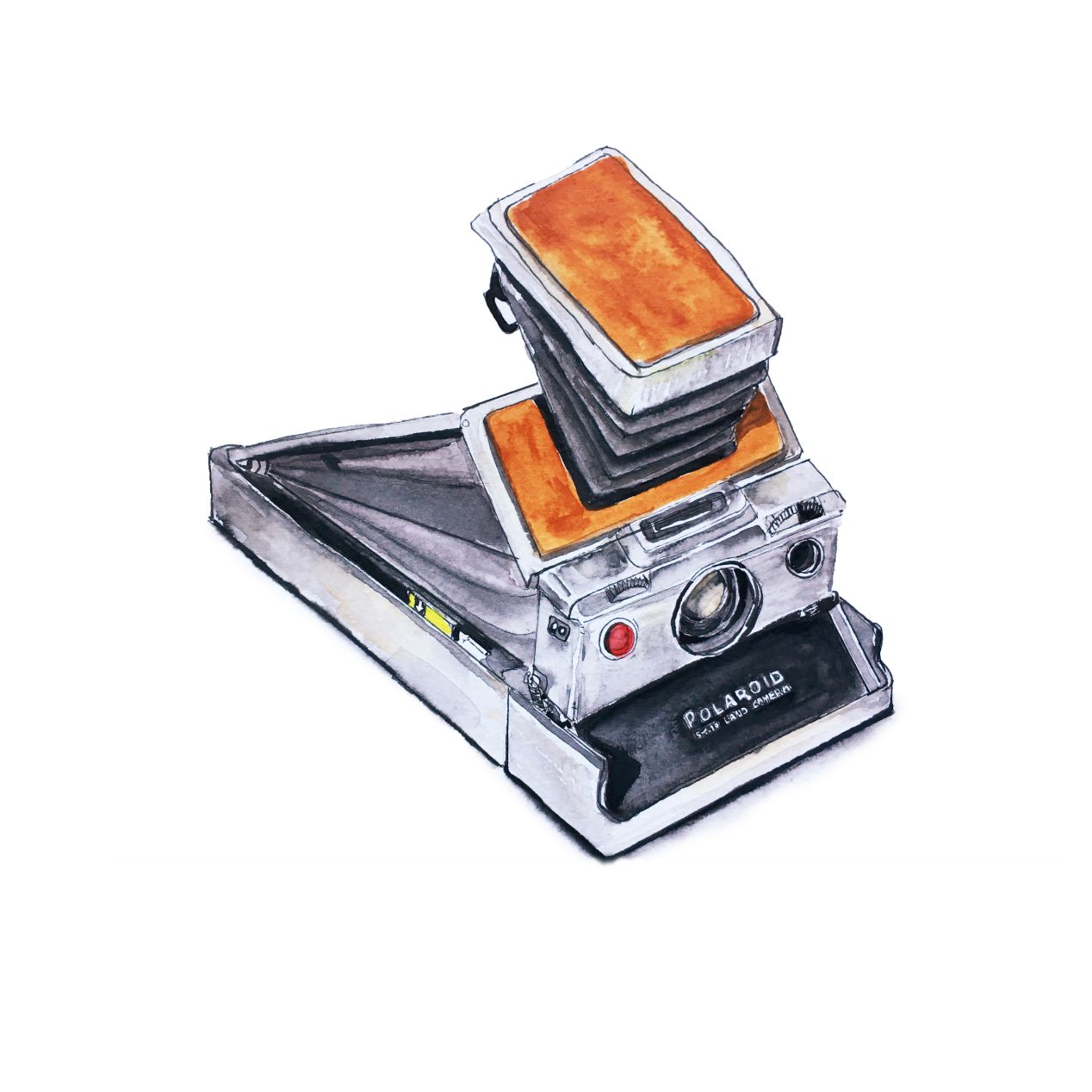 Polaroid SX-70 Alpha 1 is a fixed 116mm f/8 lens 3⅛² instant film foldable SLR camera. Automatic. Launched in 1972, USA. $$$.