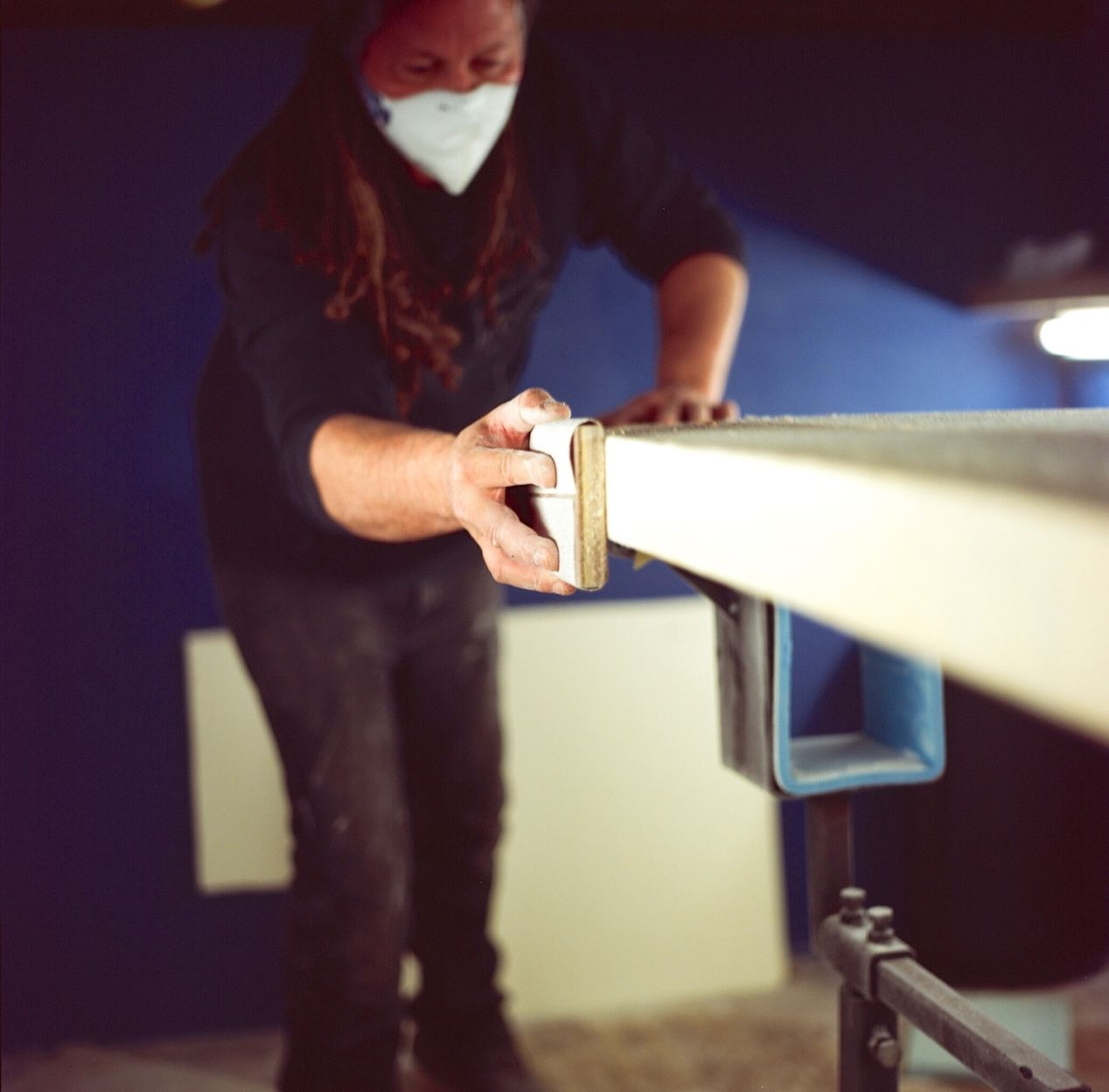 Sanding the shape. Camera: Hasselblad 500. Film: Kodak Ektar 100 (expired in 2012).
