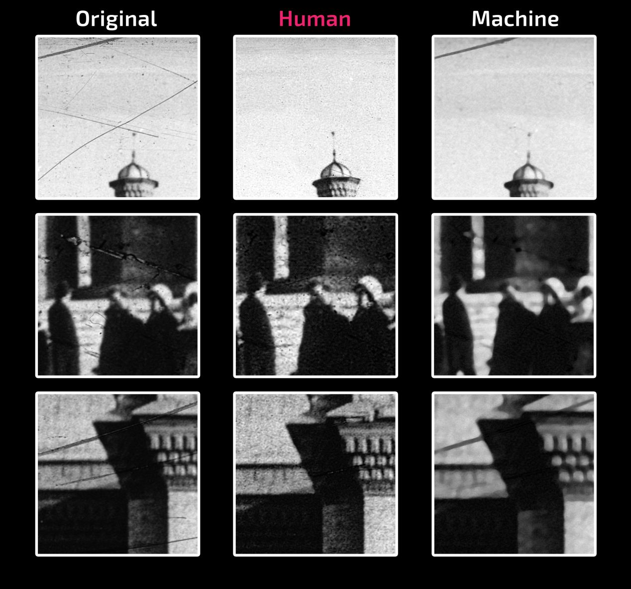 A comparison of the damaged scan against human/manual and machine restoration methods.