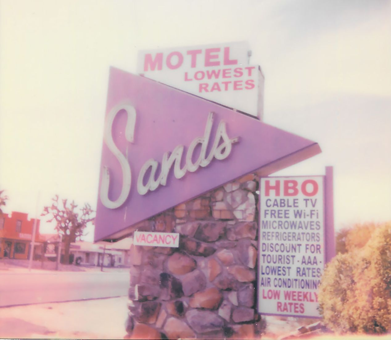 Sands Motel in Yucca Valley, California. Taken with a Polaroid 600 Camera and Polaroid Originals 600 Film