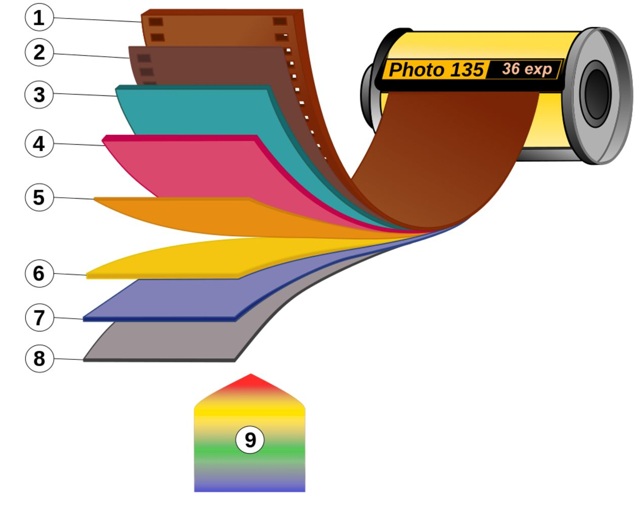 1. Film base; 2. Adhesive layer; 3. Red light sensitive layer; 4. Green light sensitive layer; 5. Yellow filter; 6. Blue light sensitive layer; 7. UV Filter; 8. Protective layer; 9. Visible light (when shot as regular, non-red scale film).