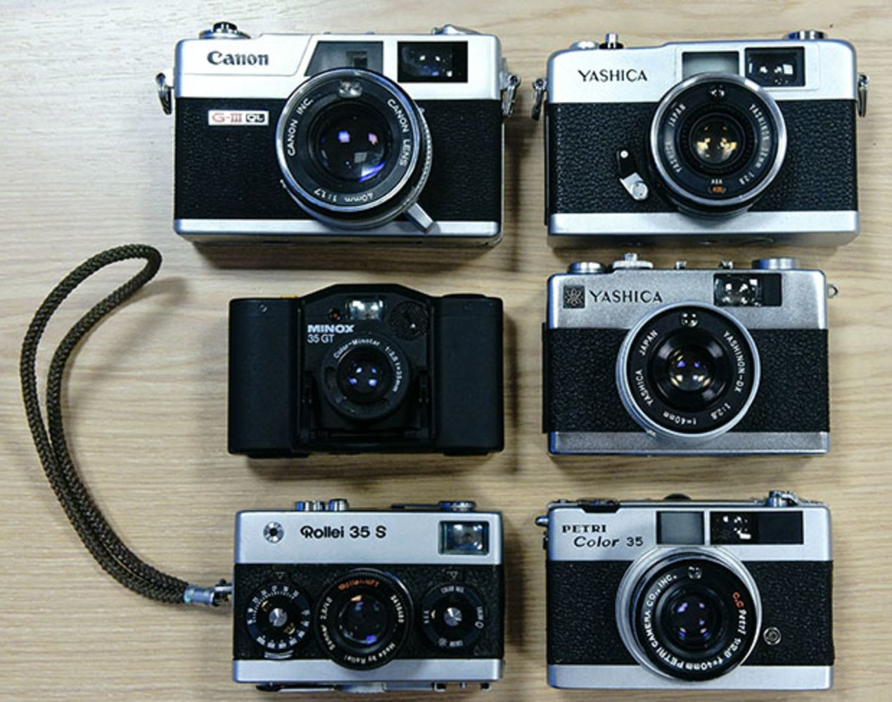 Yashica 35-ME ~$40-50, Yashica 35 MC ~$40-50, Minox GT/GT-E ~$70-90, compared against Canonet QL 17 GIII (top left) and Rollei 35S/Petri Color 35 (bottom two).