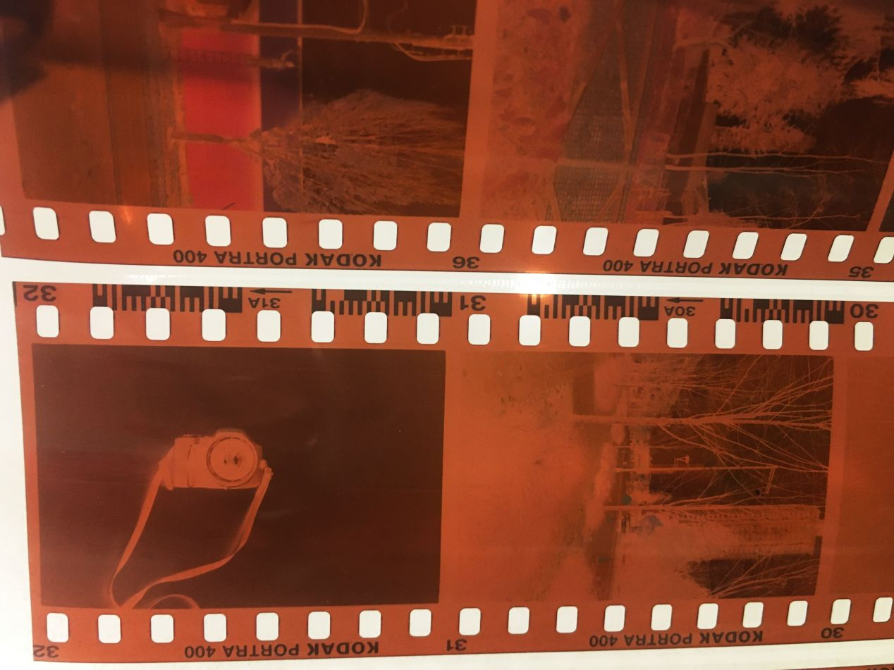 These film strips are upside-down but the emulsion is facing up (correctly).