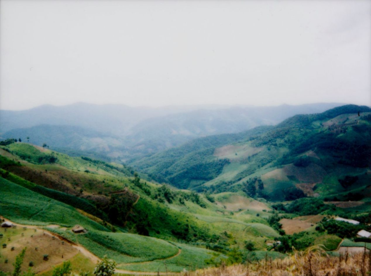 A valley of farm fields in northern Thailand. Shot on Instax Mini 90, scanned on a flatbed scanner. I bet it could be even sharper with higher quality optics.