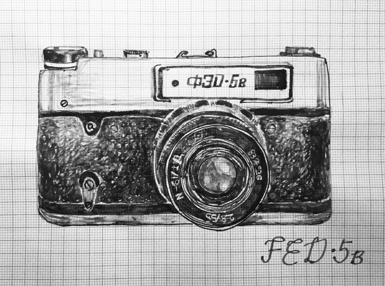 FED 5b is an interchangeable lens (Russian) Leica Screw Mount 35mm rangefinder. Here with Industar-61 55mm f/2.8 lens. Manual. Launched in 1977, USSR. $.